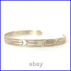 Vintage Haida Cuff Bracelet Sterling Silver Animal Native First Nation Signed GH