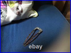 Vintage Hair Comb Decor Fishson Silverite Rhinestone Victorian Art Nouveau