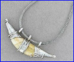 Vintage Handmade Tribal Silver Pig Tooth Boar Tusk Pendant Necklace 25