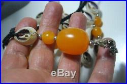 Vintage Hawaiian Puka Shell Baltic Amber Bead Tribal Massive Necklace / Cord
