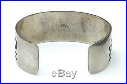 Vintage Hopi Zuni Sterling Silver Cuff Bracelet Waves Clouds Artisan Signed CL