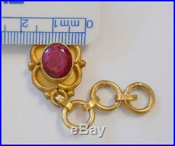 Vintage India Real Ruby Drop Necklace Bracelet Set Gold Tone Large Links Flower