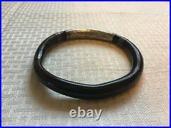 Vintage Japanese Antique Gift1880's Pure Silver Black Coral 8 Bangle Bracelet