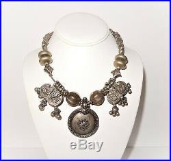 Vintage Lot 302G Rajasthan Indian Sterling Silver Signed RA Tribal Necklaces