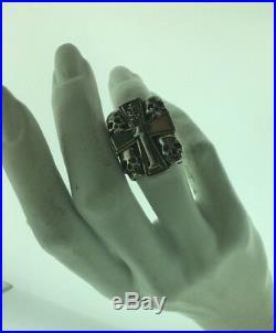 Vintage Mens Sterling Silver 925 Skeleton Cross Ring Sz 8.5