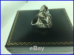 Vintage Mens Sterling Silver 925 Skeleton Cross Ring Sz 9.5