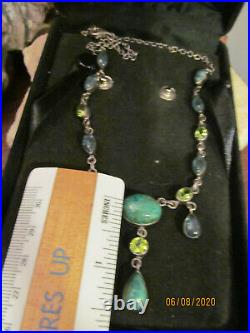 Vintage NB 925 Sterling Silver Green Turquoise, Aqua, Peridot Necklace INDIA 23g