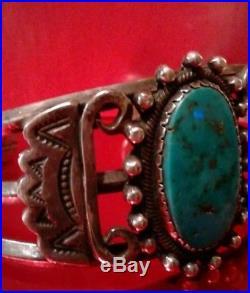 Vintage Native American Navajo Bracelet & Ring Sterling Turquoise Signed 47.4gm