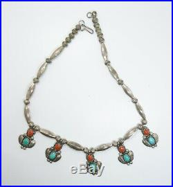 Vintage Native American Sterling Silver Turquoise Coral Tully Sam Necklace