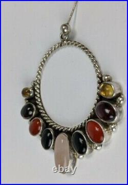 Vintage Navajo Bernyse Chavez Sterling Multi Stone Hoop Earrings 2 Wide