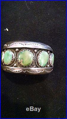 Vintage Navajo GreenTurquoise Bracelet Stamped TC 5-stone