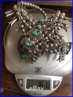 Vintage Navajo Squash 30 Blossom Necklace Turquoise Sterling Silver! Free ship
