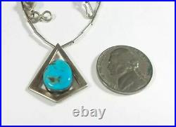 Vintage Navajo Sterling Liquid Silver Turquoise 15 Necklace