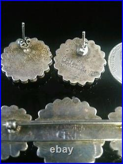 Vintage Navajo Sterling Silver Jewely Set Signed By Richard Yellowlhorse