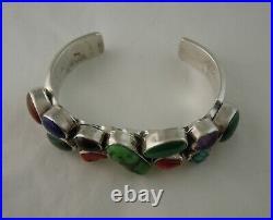 Vintage Navajo Sterling Silver Multi Gemstone Bracelet 58 grams might be Nakai
