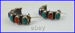 Vintage Navajo Sterling Silver Multi Stone Half Hoop Earrings