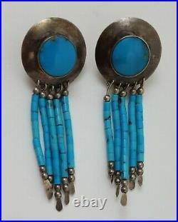 Vintage Navajo Sterling Silver Turquoise Earrings Drop Dangle Post Earrings