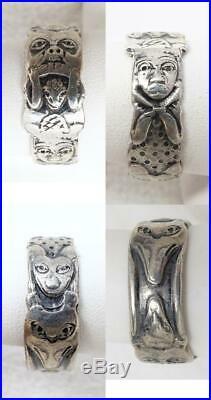 Vintage Northwest Coast Sterling Figural Totem Band Ring SZ 10