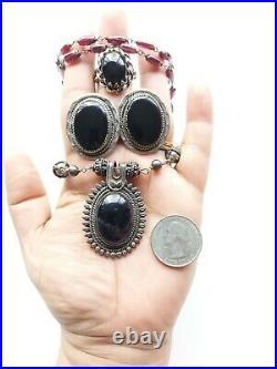 Vintage Onyx, Garnet, Sterling Silver Navajo 23 Necklace & Earring clip ons 59g