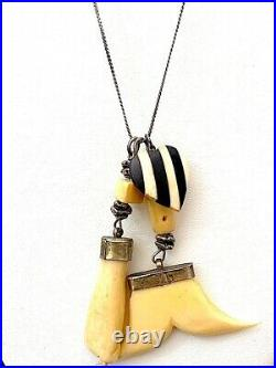 Vintage Or Antique Figa Heart Charm Pendant Necklace