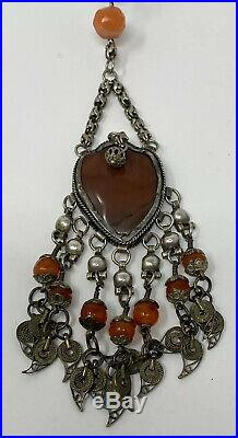 Vintage Ornate Primitive Carnelian Tribal Ethnic Silver Dangly Festoon Necklace