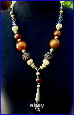 Vintage PENDANT NECKLACE Old Trade Beads Amber Bakelite Metal Lapis Agate
