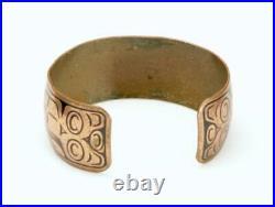 Vintage Pacific Northwest Copper Cuff Bracelet First Nations Bird Snake Design