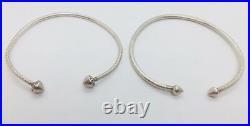 Vintage Pair Trinidad Sterling Silver Hand Made Ornate Bracelets