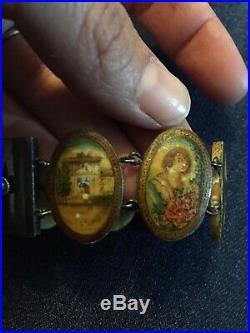 Vintage Persian Hand Painted Bone & Silver Bracelet Portrait Pastoral