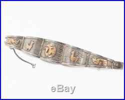 Vintage Peruvian Animal 18K Gold & Sterling Silver Panel Cuff Bracelet Signed MR