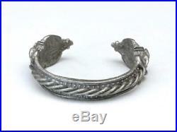 Vintage Rare Tribal Heavy Pewter Metal Cuff Bracelet Boar Symbols Hallmarked