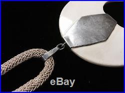 Vintage Retro Modern Sterling Silver Composite Crescent 34 Woven Necklace