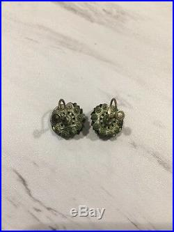 Vintage Russian Czechoslovakia White Cats Eye Glass Earrings