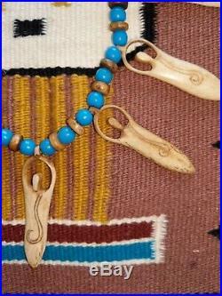 Vintage SHAMAN NECKLACE NATIVE Trade Beads Bone Figures 26 Northwest Aura Magic