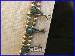 Vintage Sancrest Navajo Turquoise Squash Blossom Necklace Silvertone