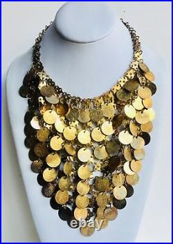 Vintage Sexy Tribal Gold Tone Coin Necklace Gypsy Belly Dancer Choker
