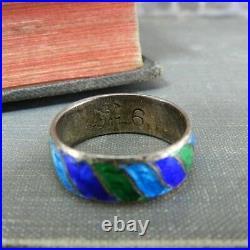 Vintage Siam Sterling Blue & Green Enamel Bangle Bracelet & Ring Set