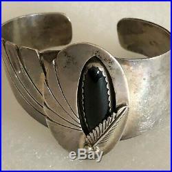 Vintage Signed LL 925 Sterling Onyx Cuff Bracelet & Ring