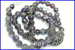 Vintage Silver 800 Morrocan Berber Amethyst Beaded Ethnic Tribal Necklace Ns1