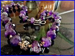 Vintage Silver Natural Amethyst Crystal Stone Bead Tribal Ethnic Necklace