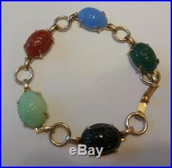 Vintage Silver Tone Scarab Carved Peking Glass Faux Gem Stones Bracelet