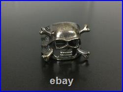 Vintage Sinister Diabolic Skull Sterling Silver Ring Size 9.25