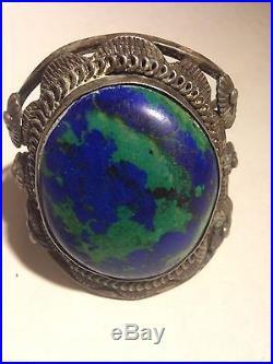Vintage Sterling Deep Blue Turquoise Cuff Bracelet 96g
