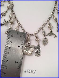 Vintage Sterling Silver ALASKA BY KABANA Totem Tribal Charm Necklace