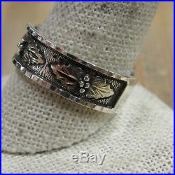 Vintage Sterling Silver Black Hills Gold Men's Band Ring Size 12