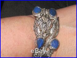 Vintage Sterling Silver Chinese Dragon Bracelet Lapis lazuli and 18K