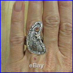 Vintage Sterling Silver & Copper Hummingbird Cactus Scene Ring Size 6.5