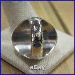 Vintage Sterling Silver Effie C. Zuni Turquoise Men's Ring Size 10.75