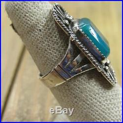 Vintage Sterling Silver Gem Silica Ring Size 8.25