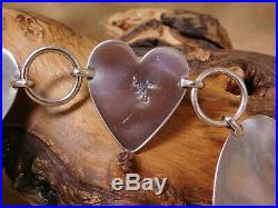 Vintage Sterling Silver Heart Concho Belt